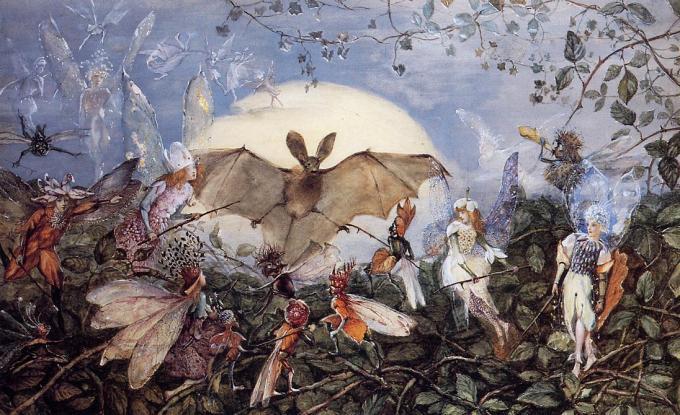 John Anster Christian Fitzgerald - Fairy Hordes Attacking a Bat sphinx verspertilio