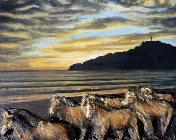tableau-peinture-chevaux-sauvages-sur-la-plage-virginie-trabaud