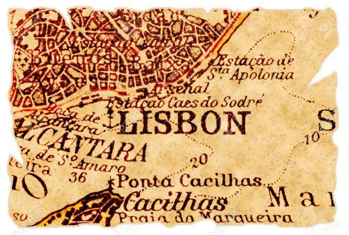 8284738-lisbonne-portugal-sur-une-vieille-carte-d-chir-e-de-1949-isol-partie-de-la-s-rie-de-cartes-anciennes-banque-dimages