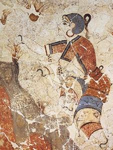 Cueilleuse de safran, fresque d'Akrotiri, Santorin, 1500 av.J-C, Athènes
