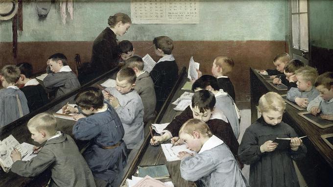 En classe, le travail des petits 1889