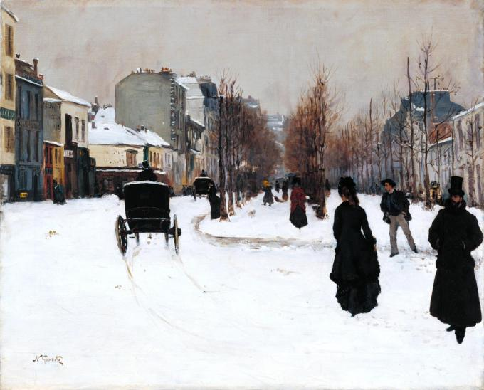 The Boulevard de Clichy under Snow 1876 by Norbert Goeneutte 1854-1894