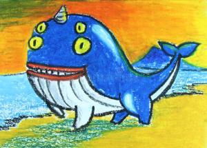 baleine-de-yeux-avec-la-peinture-de-klaxon-41244246
